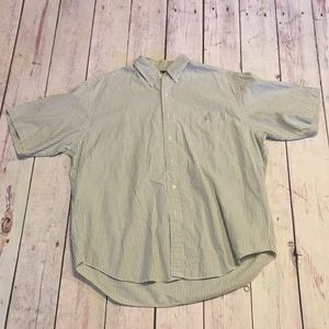 Ralph Lauren green white stripe button up SZ large